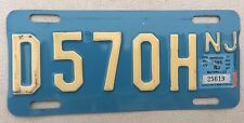 """1995 NEW JERSEY MOTORCYCLE CYCLE  LICENSE PLATE """" D 570 H """" NJ 95 BUFF ON BLUE"""