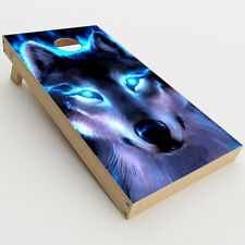 Skin Decal for Cornhole Game Board (2xpcs.) / Wolf Glowing Eyes Fire