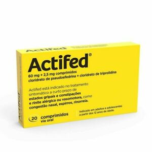 ACTIFED - 20 Tablets Box-Allergic rhinitis, flu, Cold sneezing, nasal congestion