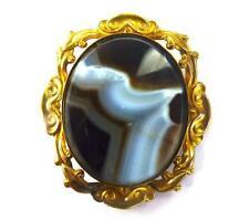 ANTIQUE SCOTTISH BANDED AGATE CABOUCHON BROOCH GOLD PLATED MOUNT c
