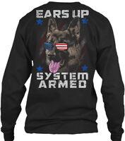 Military K9 Ears Up, System Armed - Up Gildan Long Sleeve Tee T-Shirt