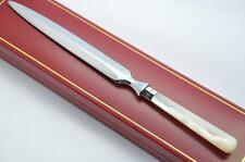 SHEFFIELD SILVER  FERRULED DIAMOND MOTHER OF PEARL HANDLED LETTER OPENER 1922