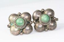 Green Onyx Screw Earrings Vintage Mexican Sterling Silver