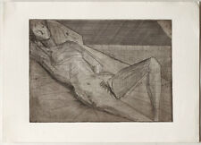 Abstract reclining nude etching 1950s Austrian artist