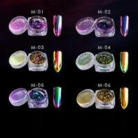 6 Colors Nail Art Powder Chameleon Mirror Chrome Effect Manicure Pigment Glitter