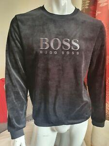 Hugo Boss Bodywear Black  Mens Velour Sweatshirt Top  Size L   NEW