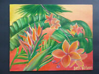 Original Acrylic Painting 8 x 10 Canvas Panel Tropical Island Flowers Art