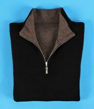 ERMENEGILDO ZEGNA 100% CASHMERE Reversible Sweater - Black / Brown - 52 L Large