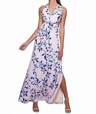 FAME & PARTNERS // 12 // NEW $299 Pink Blue Print Georgette Maxi Dress - Races
