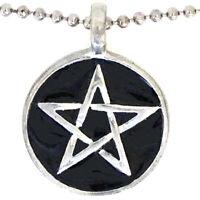 Black Pentagram Pentacle Star Wicca Pagan Charm Amulet Pewter Pendant Necklace