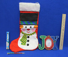 Snowman Christmas Stocking Joy Picture Photo Frame Candy Cane Pen Decor Lot Of 3