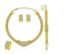 African Jewelry Set/Wedding/Gold Plated Crystal Necklace/Ring/Bracelet/Earing16