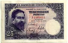 BILLETE DE 25 PESETAS DE 1954 (EBC-) ISAAC ALBENIZ (SERIE F) MANCHITAS