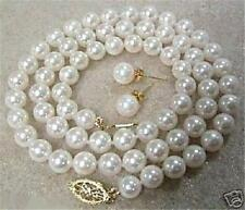 "8mm White Akoya Cultured Shell Pearl Necklace Earring Set 18"" AAA++"
