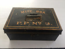 """Antique Metal Church 'POOR' Coin Collection """"MITE BOX / P.P. No. 3"""" Pope Paul"""
