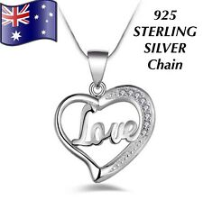 Crystal Love Heart Pendant Charm 925 Sterling Silver Chain Necklace Women's Gift