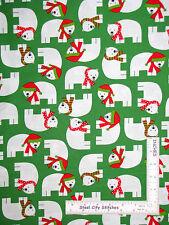 Christmas Fabric - Holiday Polar Bear Animals Green #15267 Kaufman Jingle - Yard