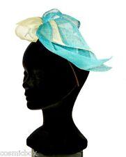Chapeau de cérémonie femme serre tête TOUT en TETE vert turquoise anis green hat