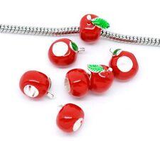 """""""Red Apple"""" Enamel Bead Charm  for Snake Chain Charm Bracelets"""