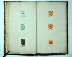 ANTIQUE ORIGINAL HANDPAINTED HERALDRY COAT of ARMS FAMILY MANUSCRIPT 1701