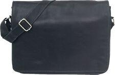 "UNICORN Real Leather Black 16.4"" Laptop / Netbook Messenger bag #1L"