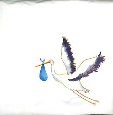 3x Single Paper Napkins For Decoupage Craft Tissue Stork Bringing Baby N188