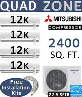 48000 BTU Quad Zone Ductless Mini Split Air Conditioner Heat Pump: 12000 x 4