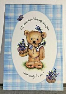 Hallmark Mary's Friends & Flowers Thinking of You Teddy Bear Violets Note Card