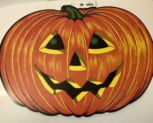 "Huge Pumpkin Jack O Lantern Halloween Decoration Die Cut  25""x18"" Nice! USA"