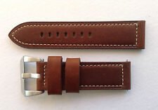 REPLACEMENT STRAP BROWN/WHITE STITCHING 20MM-24MM FOR PANERAI/U BOAT/TW STEEL
