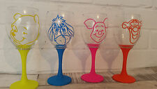 Eeyore winnie the pooh set 4 wine glass any colour glitter personalise birthday