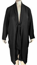 1x 2x Fenini Plus Size Artsy Black Silky Rayon Duster Jacket / Cover-Up $128 NWT