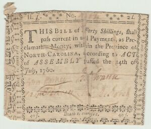 NORTH CAROLINA 40 SHILLINGS (HIGHEST SHS VALUE) of 1760 SEWN with ALL 4 SIGNERS
