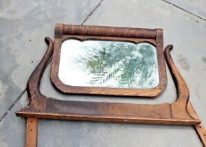 Fabulous Rolling Pin Top Oak Mirror and Harp circa 1900