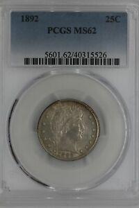1892  .25  PCGS  MS62  Barber Quarter,Liberty Head Quarter, Barber 25c