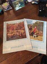 Rare (2) Piece 1956 Calendar Blank Set Hunter & Dog And Fisherman In Stream