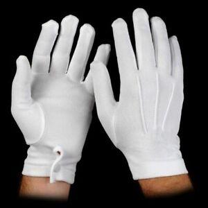 WHITE Nylon Formal Tuxedo Gloves NEW Adult One Size SNAPS