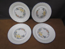 SET OF 4 CORELLE ORCHARD ROSE BREAD/DESSERT/SALAD SWIRL PLATES  7 1/4 INCH