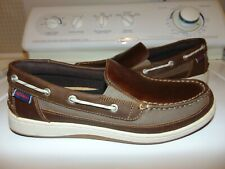 SEBAGO MALEAH WOMEN'S  BROWN LEATHER SLIP ON BOAT DECK LOAFERS/SHOES - SIZE 11M