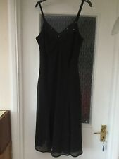 Ladies black sleeveless dress with beaded top, size 14
