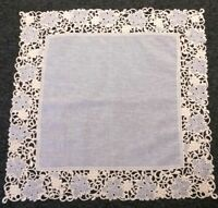 "Embroidery Beige Organza Fabric Embroidered 36x36"" Square Tablecloth Table Cover"