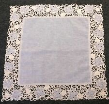 """Embroidery Beige Sheer Organza Fabric Embroidered Grape Leaf 36x36"""" Tablecloth"""