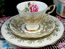 ROYAL STANDARD PINK ROSE ROSEBUD FANCY GOLD DESIGNS TRIO TEA CUP AND SAUCER