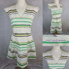 Y otras historias Blanco Raya Vestido Talla 14 Fit & Flare A-Line Amarillo Verde Escote en V