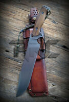 CUSTOM HANDMADE TOOL STEEL FULL TANG HUNTING BOWIE KNIFE ACIDWASH LEATHER SHEATH