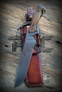 CUSTOM HANDMADE TOOL STEEL FULL TANG HUNTING BOWIE KNIFE ACIDWASH LEATHER SHEATH