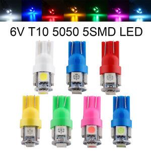 10Pcs 6 volt led bulb Pinball T10 W5W 2825 158 192 168 194 5SMD 5050 LED 6V 6.3V