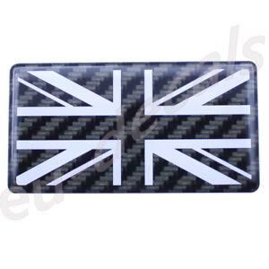 Carbon fiber/white Union Jack flag 3D Decal domed 7cm for triumph speed triple