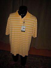 Adidas Polo Shirt CLIMALITE Yellow Striped Golf Tennis XL MCILtBiClrAwnSt white