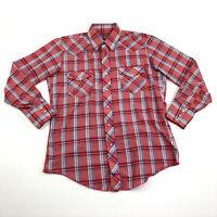 Vintage Mens Large Pearl Snap Shirt Long Sleeve Collar Rockabilly Plaid Western